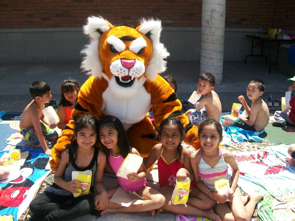 Pre-School summer campers with TC the Tiger