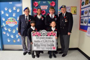 2019 cheque donation to the Markham Veterans Association