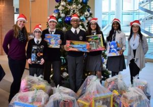 Students present the Markham Stouffville Hospital with toys and a financial donation