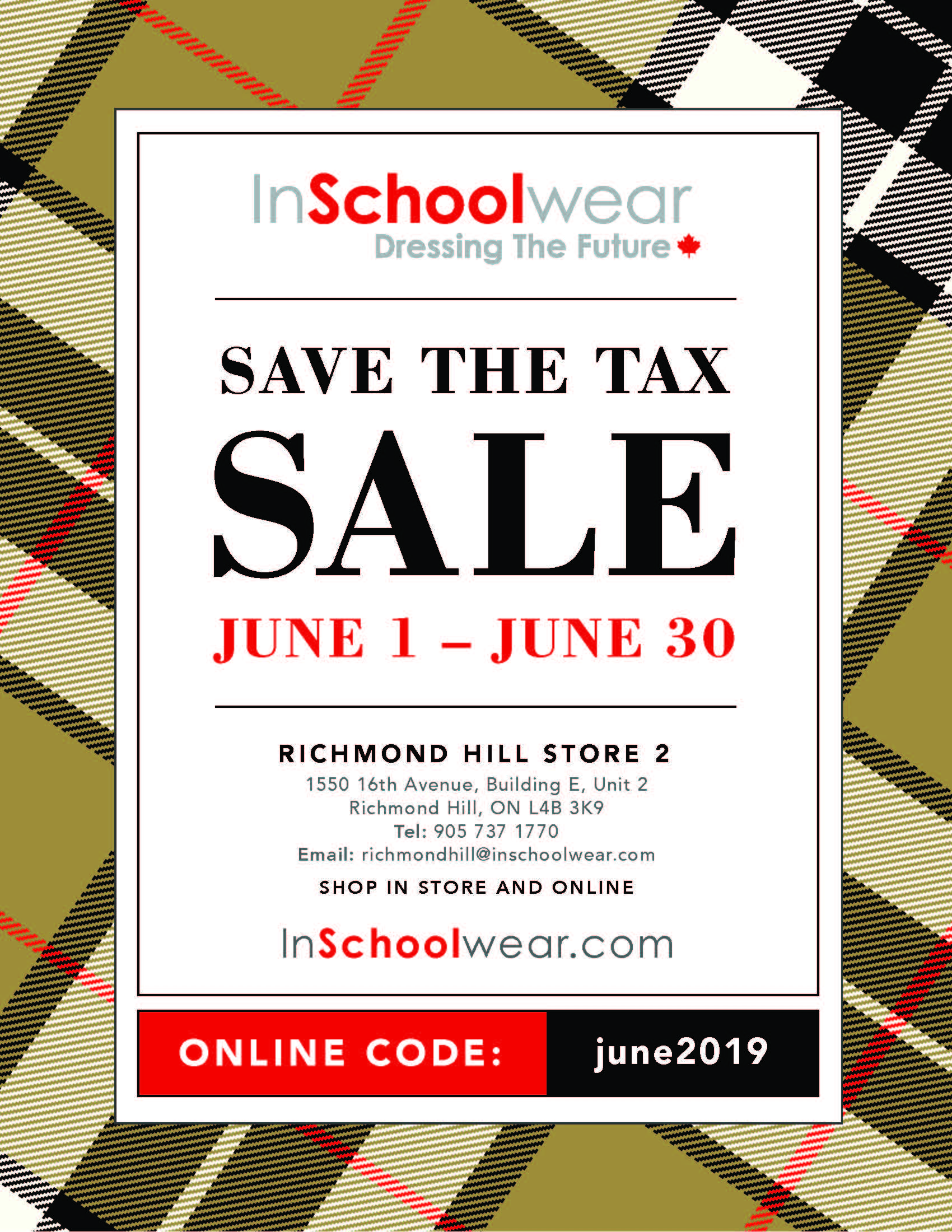 flyer from InSchoolwear promoting Save the Tax during June.