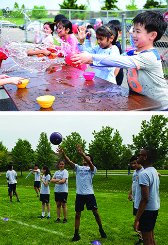 photos of TCPS students at the elementary camp day and track and field day