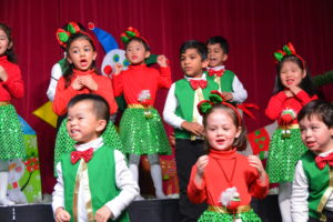 TCPS Pre-School students performing in Christmas Concert.